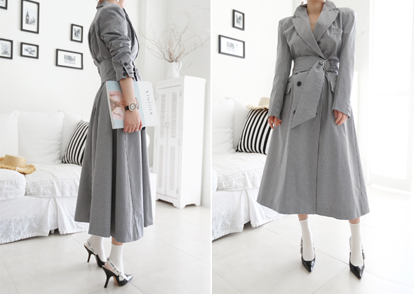 check shirring coat&one-piece