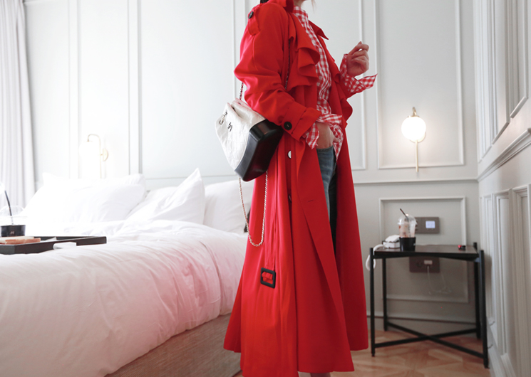 frill trench coat (red)