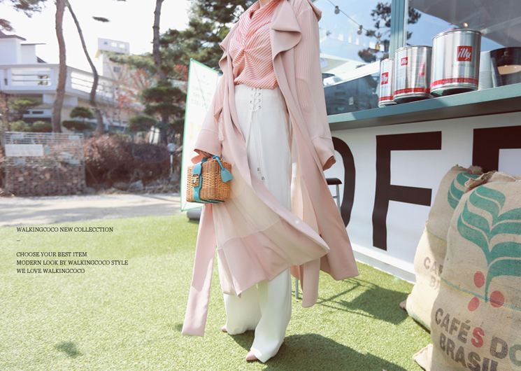 chiffon point trench coat (pink) codi set