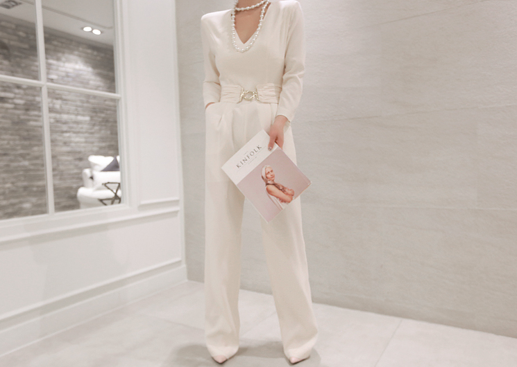 luxury belt jump suit