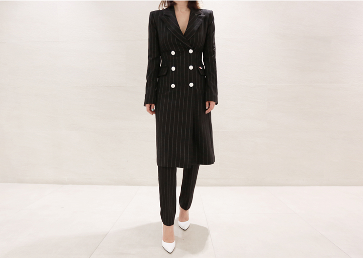 mind stripe long jacket set