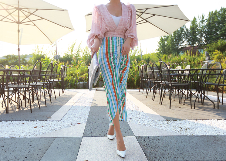 shirring stripe skirt