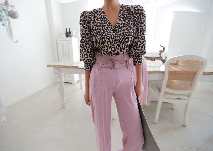 color leopard blouse