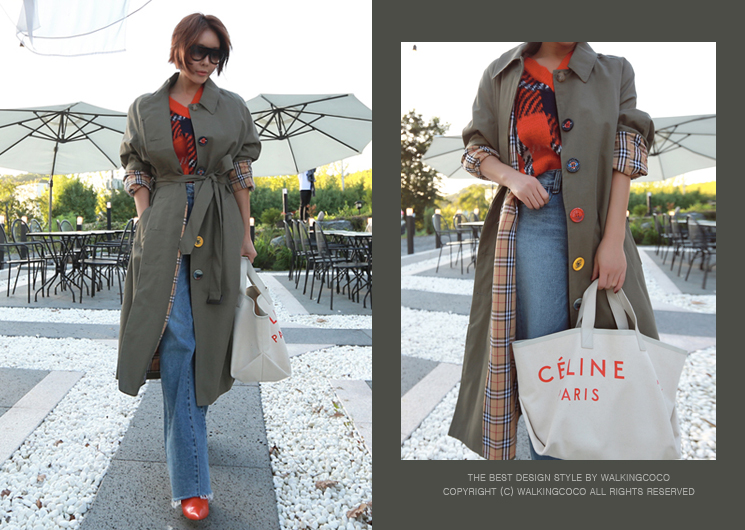 button point trench coat