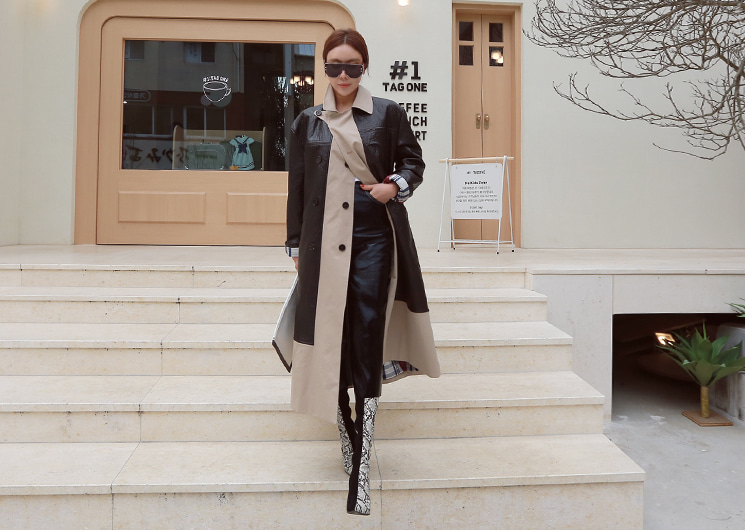 leather layered coat