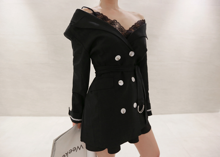 off shoulder jacket (black)